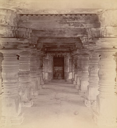 Interior of the mandapa looking towards the entrance to the linga shrine, Santeshvara Temple, Tillivalli